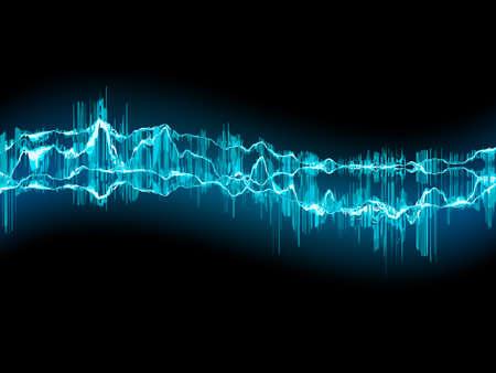 Bright sound wave on a dark blue background Vector