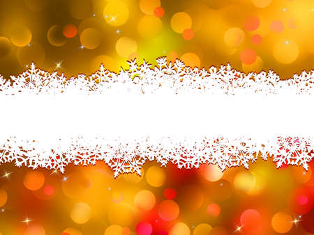 new year border: Orange Christmas background with copyspace