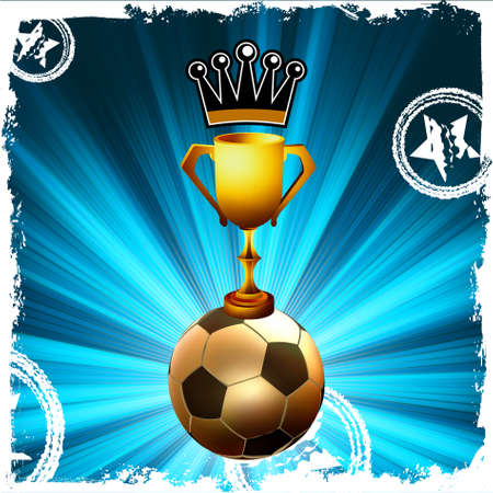 Gold football trophy and crown, behind flash Vector