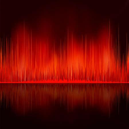wavelength: Sound waves oscillating on black background  Illustration
