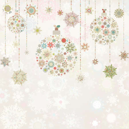 snow flake: Beige background with christmas balls
