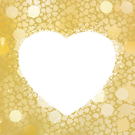 antiqued: Golden Heart bokeh frame with copy space  EPS 8 vector file included