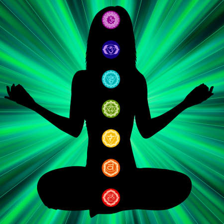 Woman silhouette sitting crossing legs, seven main chakra are on here body