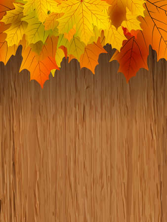 Fall coloured leaves making a border on a wooden background, Fall Leaves  Illustration