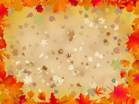 Autumn leaves border for your text Vector