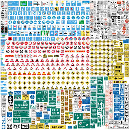 roundabout: More than Six hundred fully editable vector european traffic signs with details ready to use Illustration