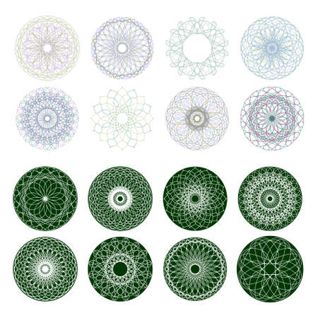 rosetta: Guilloche rosette, vector pattern for currency, certificate or diplomas  EPS 8 vector file included