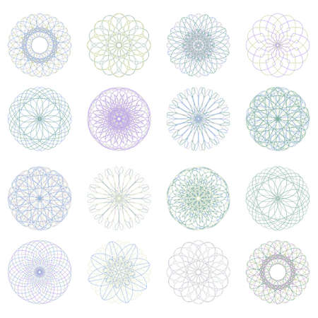 rosetta: Guilloche rosette, vector pattern for currency, certificate or diplomas.  Illustration