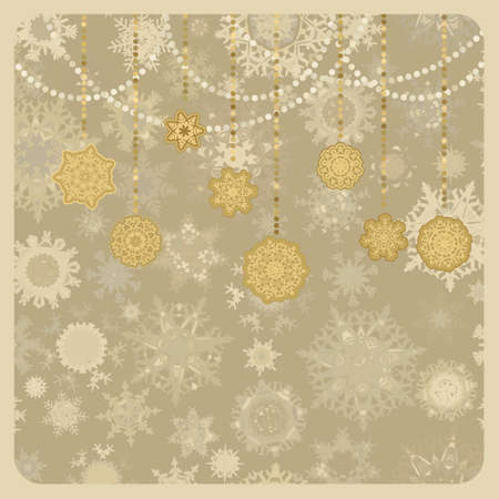 Vintage retro vector Christmas (New Year) card. Illustration