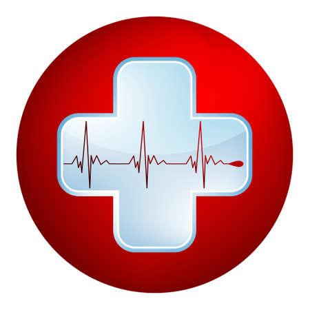 Hart en heartbeat symbool Gemakkelijk bewerkbare Template zonder een transparantie EPS 8 vector bestand opgenomen Stock Illustratie