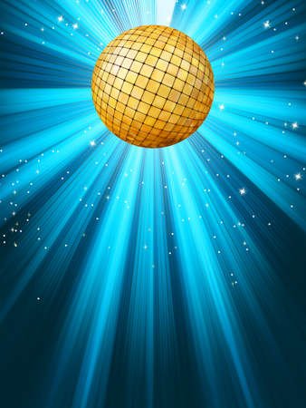Abstract disco party lights and gplden disco ball background  EPS 8 vector file included Vector