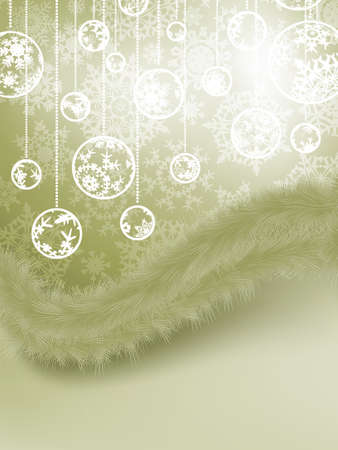 Christmas Card with baubles and fur  EPS 8 vector file included