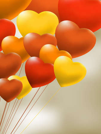 in copula: Copula of red gel balloons in the shape of a heart  EPS 8 vector file included