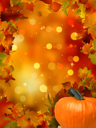 Autumn Pumpkins and leaves  EPS 8 vector file included Illustration