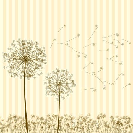 Vintage two dandelions in wind on light blue background  EPS8  To see similar visit my portfolio Illustration