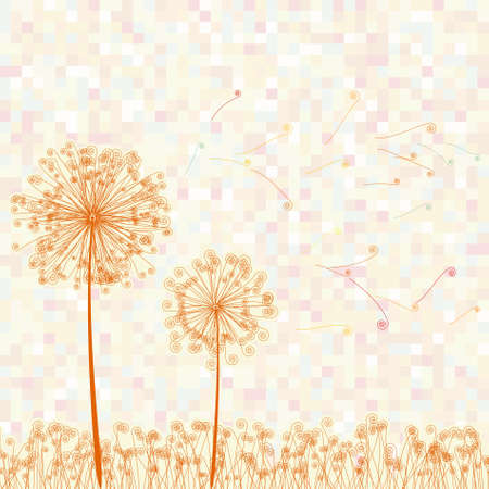 dandelion wind: Abstract colorful dandelion  EPS 8 vector file included