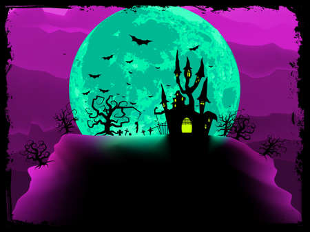 dreary: Scary halloween vector with magical abbey  EPS 8 vector file included Illustration