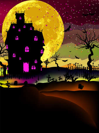 public celebratory event: Haunted house halloween background  EPS 8 vector file included Illustration