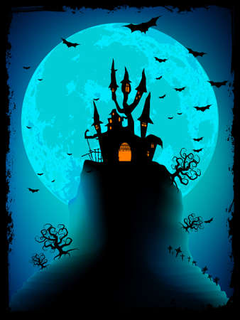 dismay: Scary halloween vector with magical abbey  EPS 8 vector file included Illustration