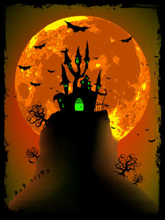 Scary halloween vector with magical abbey  EPS 8 vector file included Illustration