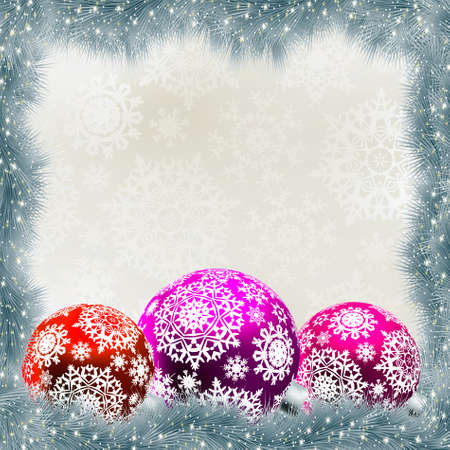 christmas tree purple: Christmas card with balls  EPS 8 vector file included