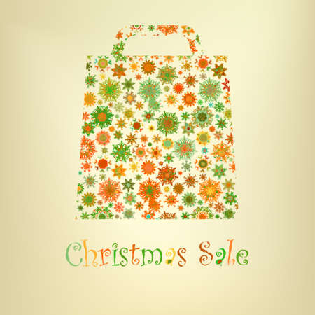 beidge: Bag For Shopping With snowflakes  EPS 8 vector file included