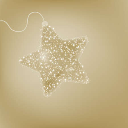Elegant Christmas star postcard with a twinkling beidge star  EPS 8 vector file included