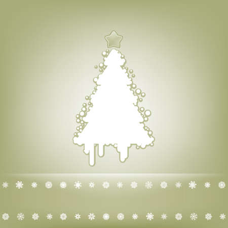 beidge: Elegant card with christmas tree  EPS 8 vector file included Illustration