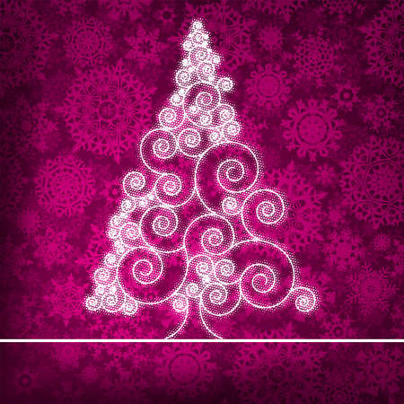 christmas tree purple: Christmas card with stylized pink glowing  EPS 8 vector file included