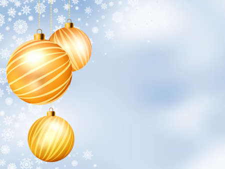 glimmered: Light Christmas backdrop with Three balls  EPS 8 vector file included