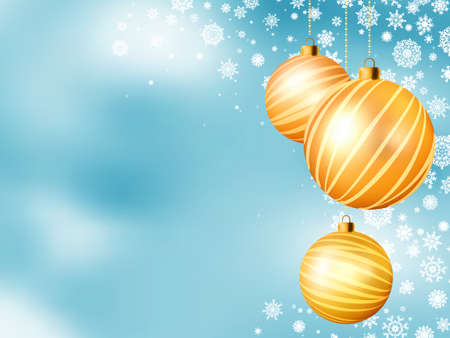 glimmered: Light blue Christmas backdrop with five balls  EPS 8 vector file included Illustration