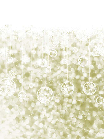 Elegant Christmas background with three evening balls and gold garlands  EPS 8 vector file included Vector