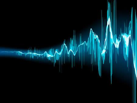 Helle Schallwelle auf einem dunkelblauen Hintergrund