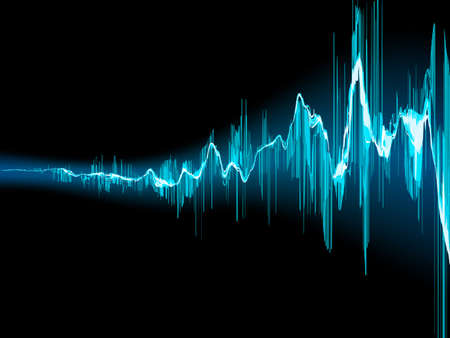 Bright sound wave on a dark blue background