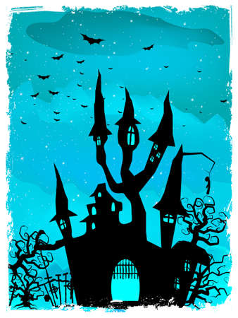 Scary Halloween Castle with Copy Space Vector