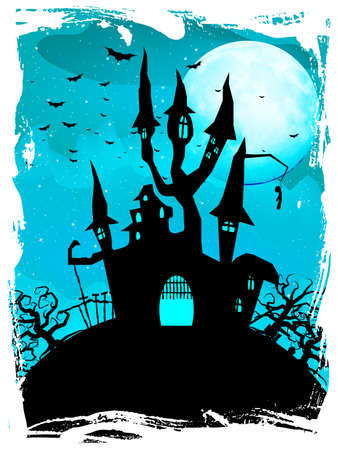 Spooky Halloween composition with horror house and popular holiday attributes.  Vector