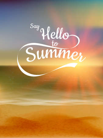 Say Hello to Summer text over defocused sunset   Vector