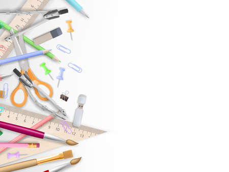 supplies: School supplies on white with copyspace.