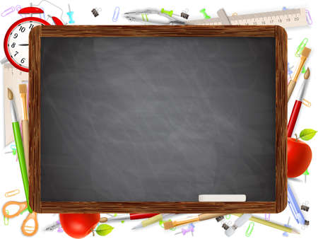 supplies: Black desk with copyspace and school supplies .  Illustration