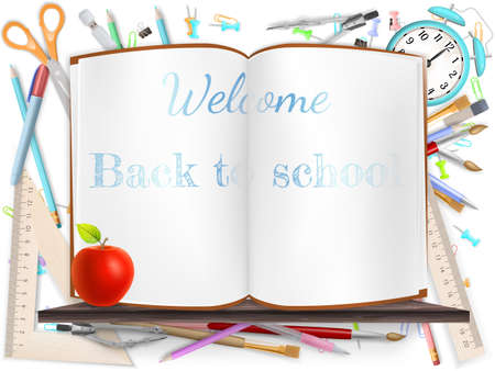 Welcome Back to school template with schools supplies.  Vector