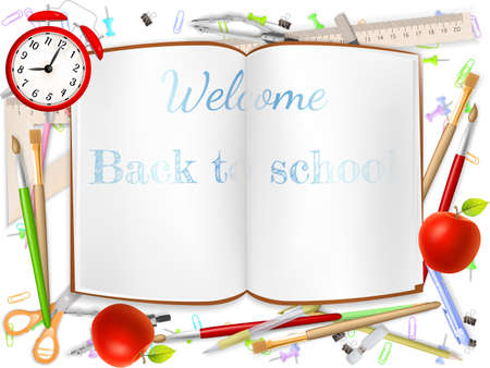 Welcome Back to school template with schools supplies.  Illustration