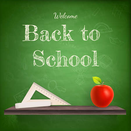kids writing: Back to school background template with red apple.