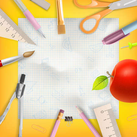office supply: School season invitation template.  Illustration