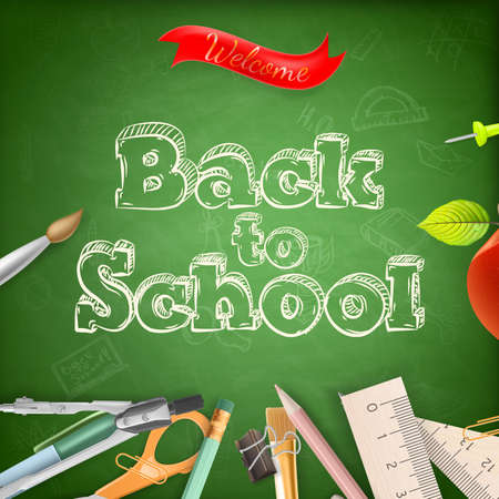 teaching crayons: Welcome back to school. Illustration