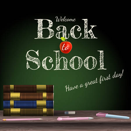 sciences: Back to school, school books with apple on desk. EPS 10 vector file included