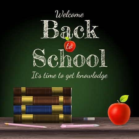 Back to school, school books with apple on desk. EPS 10 vector file included Vector