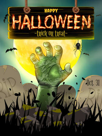 with spooky: Halloween poster for horror holiday design.   Illustration