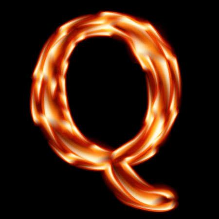 hots: Fiery font. Letter Q    Illustration