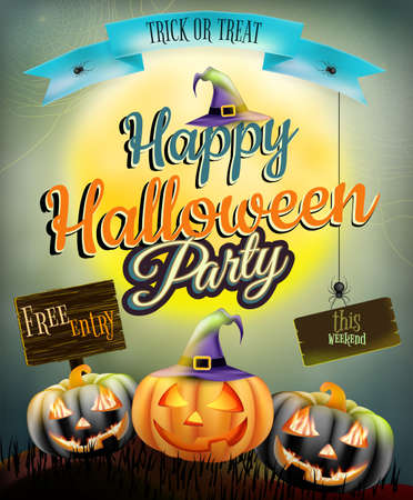 Halloween poster for horror holiday design.  Vector