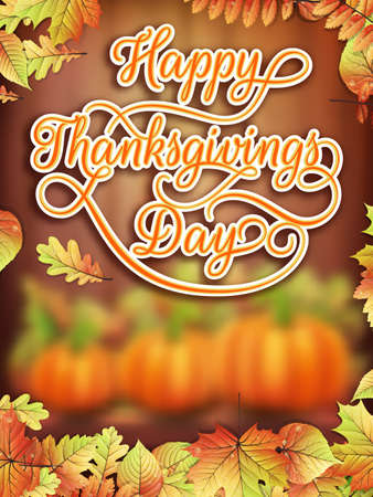 thanks giving: Card with Pumpkin and Autumn leaves. Thanksgiving day.
